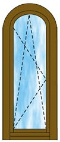 Ívben nyíló-bukó ablak